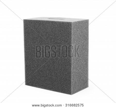 Open Black Packaging Box On White Blackground