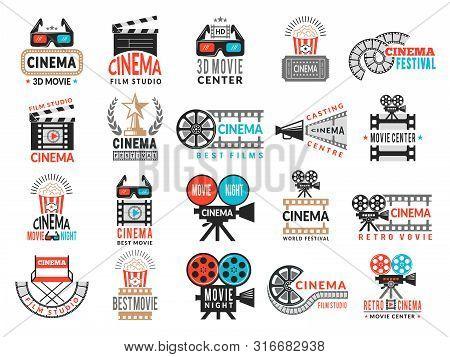 Cinema Badges. Movie Production Symbols Camera Director Chair Film Tape Vector Logo Collection. Illu