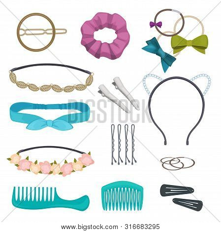 Hair Accessories. Woman Stylish Hair Item Clips Flowers Bandanas Gags Bows Elastic Bands Hoops Vecto