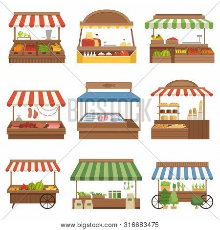 Local Market. Outdoor Shop Places Fresh Farm Foods Vegetables Fruits Milk And Meat Owners Vector Ill