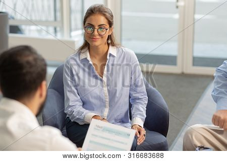 Charming Young Office Worker Being In All Ears