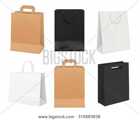 Paper Bags Empty. Identity Packages From White And Kraft Paper Shopping Bags Vector Realistic Templa