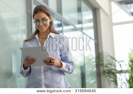 Charming Longhaired Office Worker Reading Project Program