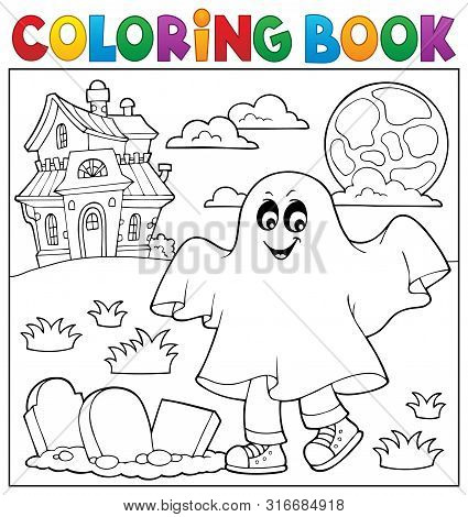 Coloring Book Boy In Ghost Costume 1 - Eps10 Vector Picture Illustration.