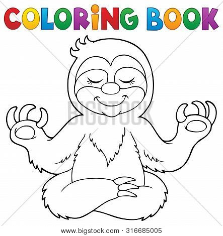 Coloring Book Happy Sloth Theme 1 - Eps10 Vector Picture Illustration.