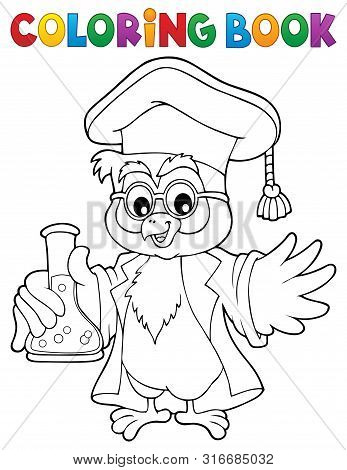 Coloring Book Chemistry Owl Teacher 1 - Eps10 Vector Picture Illustration.
