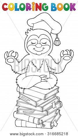 Coloring Book Sloth Teacher - Eps10 Vector Picture Illustration.