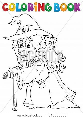 Coloring Book Witch With Cat Topic 1 - Eps10 Vector Picture Illustration.