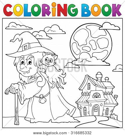 Coloring Book Witch With Cat Topic 2 - Eps10 Vector Picture Illustration.