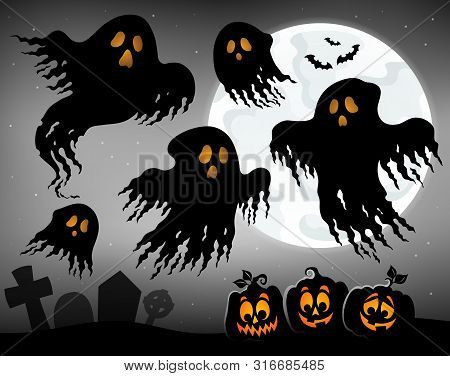 Halloween Image With Ghosts Topic 1 - Eps10 Vector Picture Illustration.