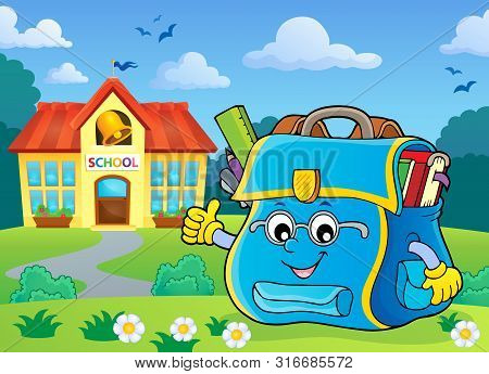 Happy Schoolbag Topic Image 6 - Eps10 Vector Picture Illustration.
