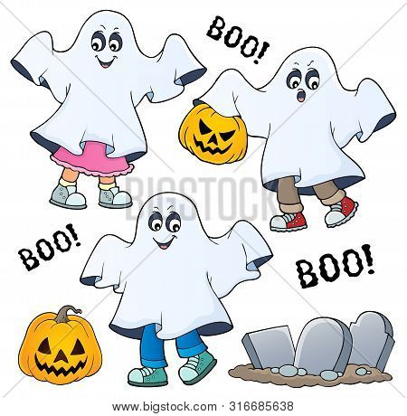 Kids In Ghost Costumes Theme Image 1 - Eps10 Vector Picture Illustration.
