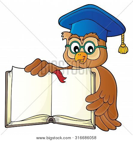 Owl Teacher With Open Book Theme Image 1 - Eps10 Vector Picture Illustration.