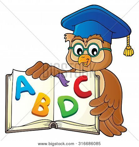Owl Teacher With Open Book Theme Image 2 - Eps10 Vector Picture Illustration.