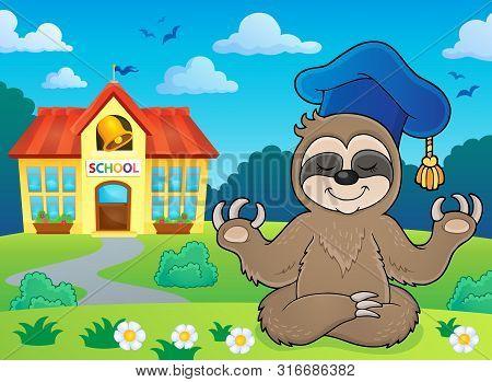 Sloth Teacher Theme Image 4 - Eps10 Vector Picture Illustration.