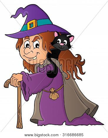 Witch With Cat Topic Image 1 - Eps10 Vector Picture Illustration.