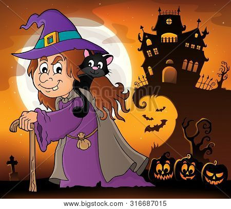 Witch With Cat Topic Image 4 - Eps10 Vector Picture Illustration.