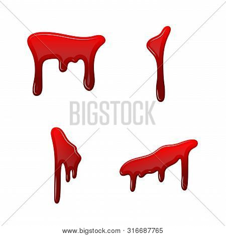 Blood Drip 3d Set. Drop Blood Isloated White Background. Happy Halloween Decoration Design. Red Spla
