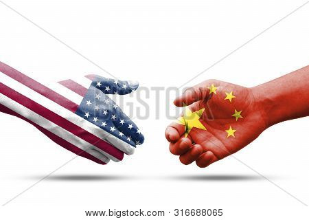 Usa And China Flag Print Screen On Handshake With White Background.it Is Symbol Of Economic Tariffs