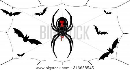 Spider Black Widow, Cobweb, Bats. Red Black Spider 3d, Spiderweb, Isolated White Background. Scary H
