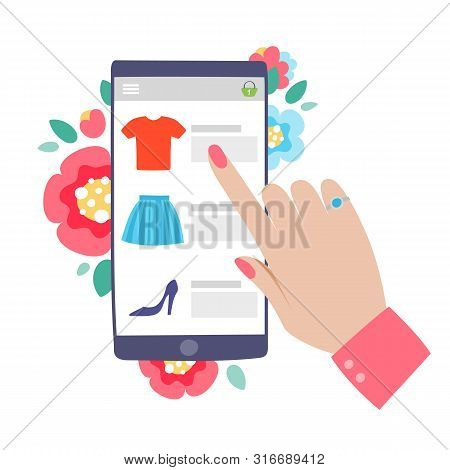 Woman Shopping Online Concept. Mobile Phone Or Tablet With Womans Hand Browsing Web Site. Flowers Ba