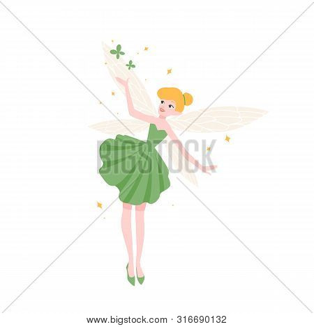 Cute Funny Fairy In Beautiful Elegant Dress Isolated On White Background. Mythical Or Folkloric Magi