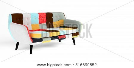 Modern Scandinavian Bright Sofa Of Colorful Cloth Scraps, Patchwork. Sofa With Wooden Black Legs On