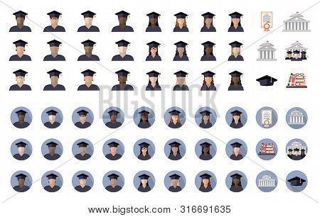 Large Student Set Of Students Boys And Girls Of Different Races, Nationalities And Skin Colors, Univ