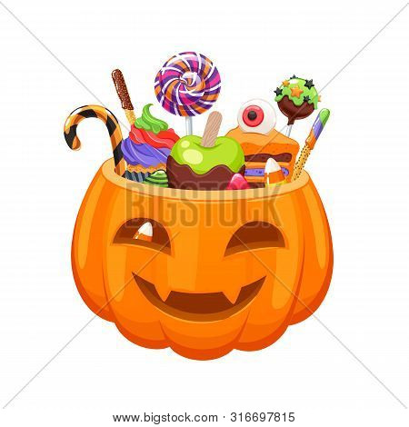 Pumpkin Bucket With Halloween Sweets And Candies. Holiday Vector Illustration.