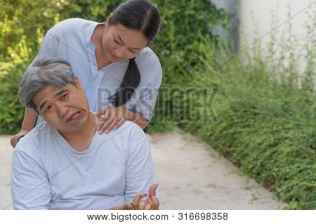The Patient Is Cerebrovascular Accident Or Stroke Caused By Hypertension And Obesity, Sitting In Whe