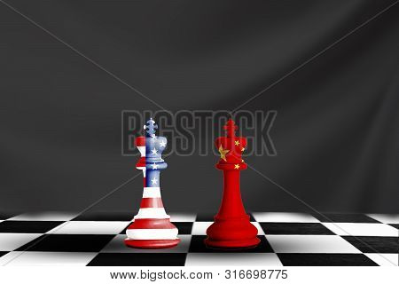 Usa And China Flag Print Screen On Chess With Black Background.it Is Symbol Of Economic Tariffs Trad
