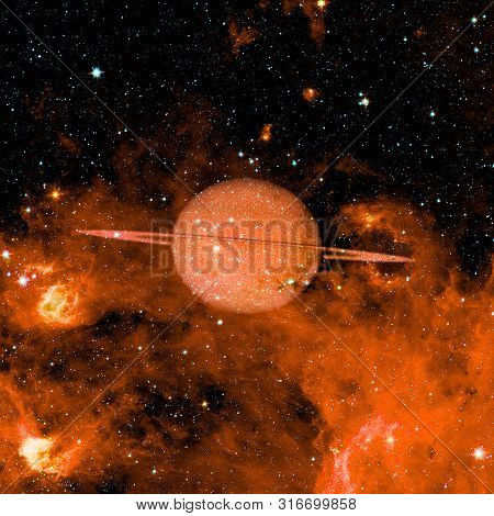 Saturn - Planet Of The Solar System. Science Wallpaper. Elements Of This Image Furnished By Nasa