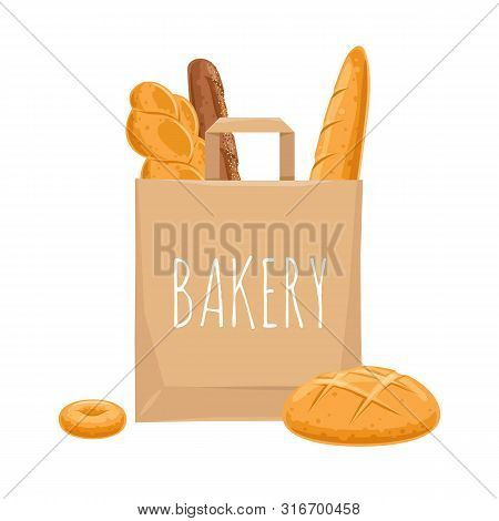 Bread In Paper Bag. Vector Bakery Pastry Products - Wheat Bread, French Baguette, Donut.