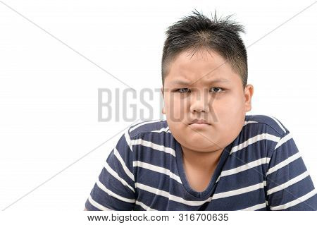 Obese Fat Asian Boy Angry Expressing Negative Emotion, Annoyed With Someone Isolated On White Backgr