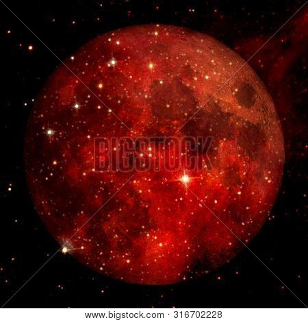 Fantastic View Of Moon. Solar System. Billions Of Galaxies In The Universe. Elements Of This Image F