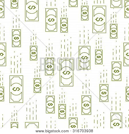 Money Cash Falling Seamless Background, Dollar Currency Money Signs, Backdrop For Financial Business