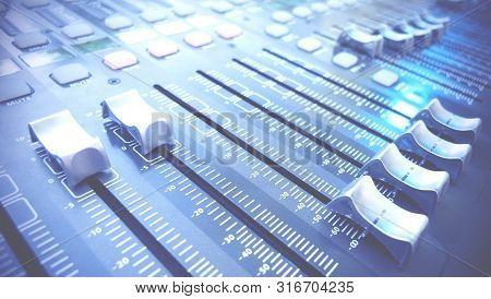 Audio Mixer Control Panel In Blue. Audio Mixer Sliders.