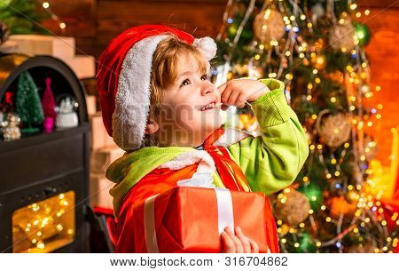 Wish To Meet Santa Claus. Merry Christmas And Happy New Year. Happy Childhood. Adorable Child Play A