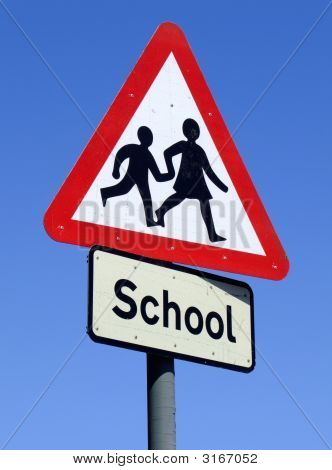 British School Roadside Warning Sign.