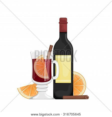 Red Mulled Wine In A Cup With Orange Slices And Spices. Winter Alcoholic Drink. Vector Flat Illustra