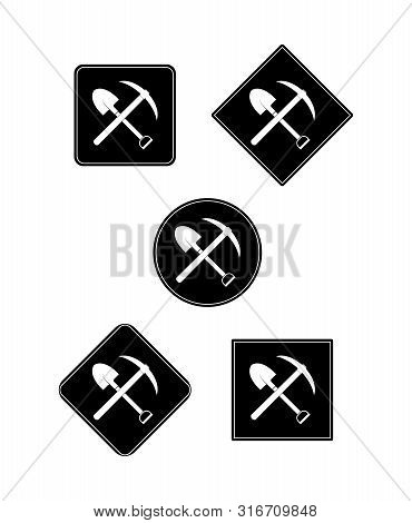 Spade Icon And Picks On Black Circle And Square, Flat Design