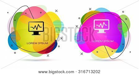 Color Computer Monitor With Cardiogram Icon Isolated On White Background. Monitoring Icon. Ecg Monit