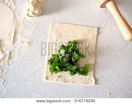 Process Of Making A Puff Pastry With Sorrel