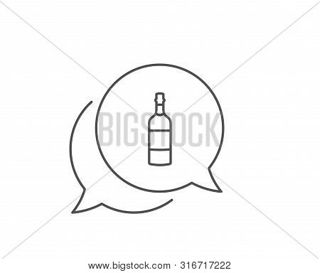 Brandy Bottle Line Icon. Chat Bubble Design. Whiskey Or Scotch Alcohol Sign. Outline Concept. Thin L