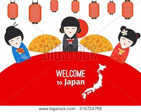 Welcome To Japan Vector Poster Design With Japanese Symbols. Illustration Of Japanese Welcome To Cul
