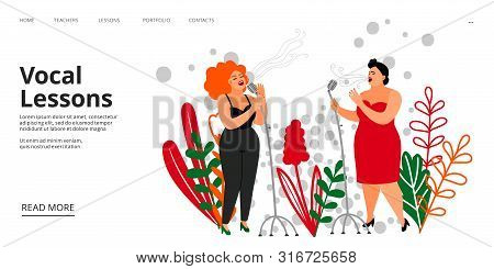 Vocal Lessons Landing Page. Vector Singing School Web Page Template. Musicians, Singers Illustration