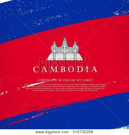 Flag Of Cambodia. Vector Illustration On A White Background. Brush Strokes Are Drawn By Hand. Indepe