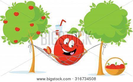 Apple Cartoon Charecter Lying In Hammock Drink Cider After Autumn Apple Harvest - Vector Flat Design