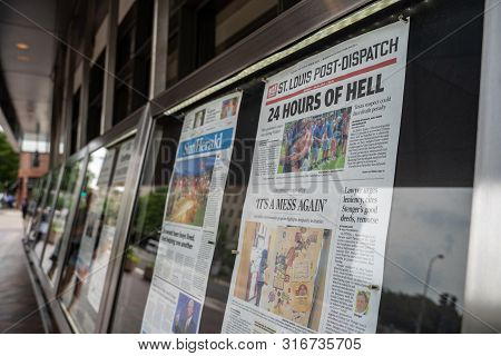 Washington, Dc - August 5, 2019: Display Of Newspapers Outside Of The Newseum, A Journalism Museum.