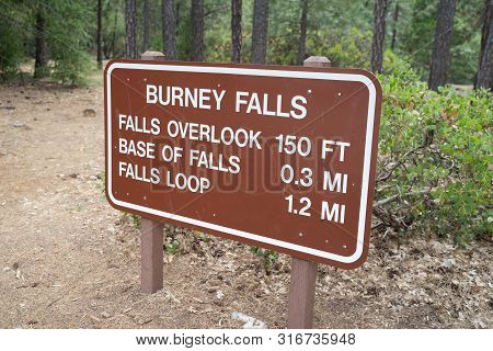Trailhead Information Sign For Trails Around Burney Falls In Mcarthur-burney Falls Waterfall State P